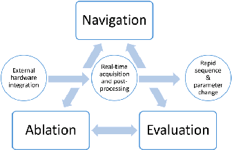 Schematic of the proposed interplay between intervention (ablation) and MR environment (navigation and evaluation).